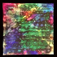 Abstract Art Alcohol Inks 12x12 Painting Lines Rays & Dots Canvas Penny StewArt