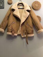 ZARA Iconic Camel Faux Shearling Leather Aviator Biker Jacket Size L Genuine