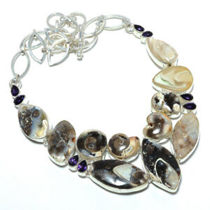 """Colus Fossil & Amethyst 925 Sterling Silver Jewelry Handmade Necklace 19.99"""" A82"""
