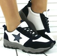 WOMENS LADIES NAVY / WHITE LACE UP CHUNKY SOLE SPORTS SNEAKERS TRAINERS SHOES