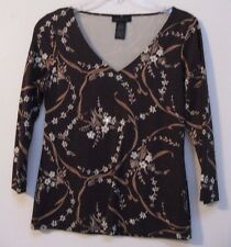 The Limited Women's 3/4 Sleeve Brown Nylon/Spandex Pullover Shirt Size S - EUC