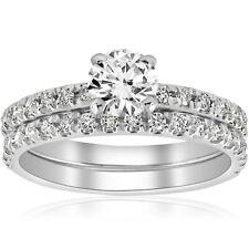 1 1/4 CT Diamante Anillo de compromiso de boda francés allanar conjunto 14k Oro Blanco Solitario