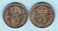 Great Britain.  1887 Jubilee Head - Threepences x 2 Coins.  gEF & aEF/EF