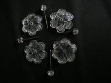 4 FLEURES CRISTAL cm 4 - 4,3 avec 4 CLOUS p. REPARER MIROIRS art. 6p4043