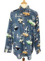 Clearwater Mens Car Rt 66 Novelty Button Down Shirt 2XL XXL Blue Long Sleeve