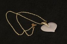"""Lovely 20"""" Gold Metal Chain Necklace with Modern Glass Heart w/ Gold Connector"""