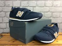 NEW BALANCE 373 UK 5.5 EU 38.5 NAVY BLUE TAN TRAINERS SUEDE CHILDRENS BOYS LG
