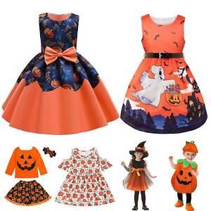 Kids Girls Witch Role Play Cosplay Costume Pumpkin Dress Halloween Fancy Dress
