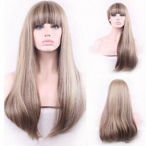 Custom Natural light blonde straight highlights full bangs synthetic womens wig