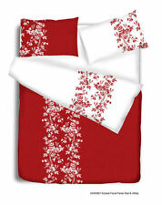 Lenzuola e federe rosso floreale in policotone