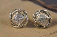 David Yurman 925 Sterling Silver Topaz Pave'  INFINITY Stud Earrings DY Pouch