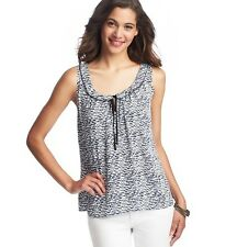 NWT Ann Taylor Loft Blue & Ivory Seed Print Lace & Ruffle Trim Tank Shirt $54 XS