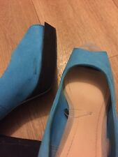 26ade59dc111 H M Womens Ladies Block High Heels Open Toe Blue Shoes Size UK 5 EUR 38