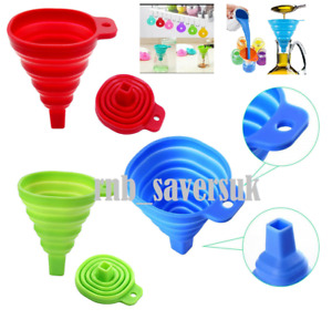 COLLAPSIBLE SILICONE FUNNEL Foldable Silicon Kitchen Hopper Practical Tool UK