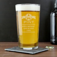 Personalised Engraved Pint Beer Glass Tankard - Birthday Gift - FREE Engraving