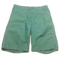 Columbia Mens Chino Shorts Green Flat Front Welt Pockets Lined 100% Cotton 32