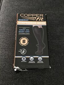 Copper Fit Energy Knee High Compression Socks, Black - Large/X-Large FREE SHIP