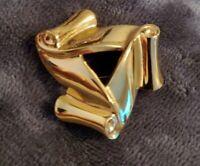 Monet vtg Goldtone triple scroll Brooch Pin