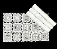 "4 Pcs White Rectangle Lace Style Embossed Vinyl PVC Placemat Table Pad 12""X19.5"""