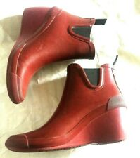 COUGAR Event Women's Waterproof Rubber Rain Boots Red Wedge Bookies Ankle US 8