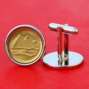 Egypt 1984 1 Piastre Gold Pyramids Gem BU Unc Coin Cufflinks NEW