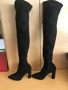 River Island Black Faux Suede Thigh High Boots Over Knee Size Worn Once US8 UK6