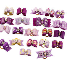10Pcs Assorted Purple Hair Bows For Dog Cat Pet Rhinestone Grooming Accessories