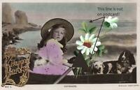 1909 VINTAGE EMBOSSED HAND-PAINTED HAPPY BIRTHDAY GIRL with HAT& DOGS POSTCARD