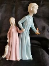 Duncan Royale Mother and Daughter Fine Porcelain Figurine Blue and Cream