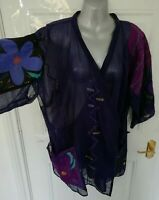 ❤ GUDRUN SJODEN Size 14 16 (M) Blue Purple Cotton Wrap Blouse Top Embroidered