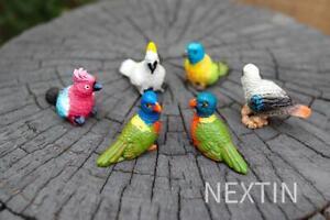 Miniature Bird Decorative Figurines Mini Rainbow lorikeet Birds Fairy Garden 6pc