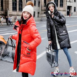 Winter Women's Parka Coat Long Down Cotton Warm Hooded Jacket Outwear UK S-2XL