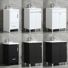 "18""/20""/24"" ; Single Bathroom Vanity Wood Cabinet Set Undermount Resin Sink White"