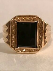 Art Deco Mens Onyx 10K Rose Gold Ring