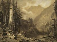 MAXIME LALANNE FRENCH ALPINE CASTLE WOODED LAKE OLD ART PAINTING POSTER BB6179A