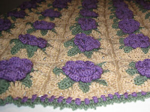 HANDMADE CROCHET Knit AFGHAN of PURPLE Rose FLOWER Quilt COUCH Lap THROW BLANKET