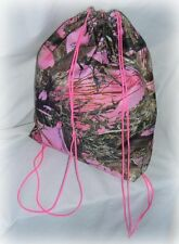 neon hot pink camo camouflage real tree breakup drawstring backpack purse tote