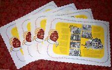 Set Of Four Rare Aunt Jemima vintage Linen paper placemats 1950's NEW OLD STOCK