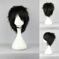 Hallowmas Short layered loveless Black Anime Hair Cosplay Full Wig AE182