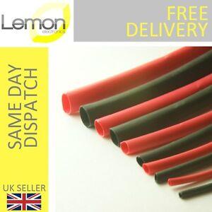Heatshrink Sleeving Kit Pack Red and Black 6 Metres in 10 Strips 1.6mm to 6.4mm