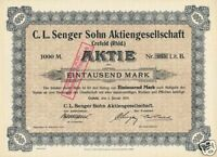 C.L. Senger Sohn AG Crefeld hist Aktie 1914 Krefeld Niederrhein Textil Veredlung