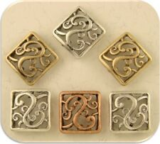 2 Hole Beads Rococo Baroque Squares Filigree Flourish Swirls 3T Sliders QTY 6