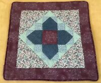 Patchwork Quilt Wall Hanging, Triangles & Squares, Floral Calicos, Green, Purple