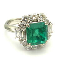Art Deco 3.45 Ct Emerald Green Sapphire Antique Vintage Silver Engagement Ring 7