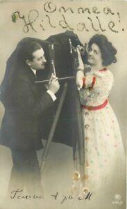 C-1910 Photographer Camera Romance RPPC Photo Postcard 21-4511