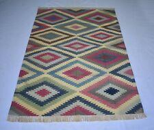 2 Pcs Set Handmade Cotton Kilim Area Rug Abstract Bedroom Carpet 4x6 Feet