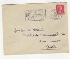 France 1 timbre sur lettre 1956 tampon et flamme Menton /L342