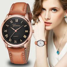 Fashion Women Geneva Roman Watch Lady's Leather Band Analog Quartz Wrist Watches