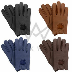Leather soft Lambskin Mens Driving Gloves Retro style Comfort Chauffeur Fashion