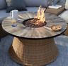 Round Fire Pit Table Outdoor Patio Heater Deck Wicker Gas LP Wood Lava Backyard
